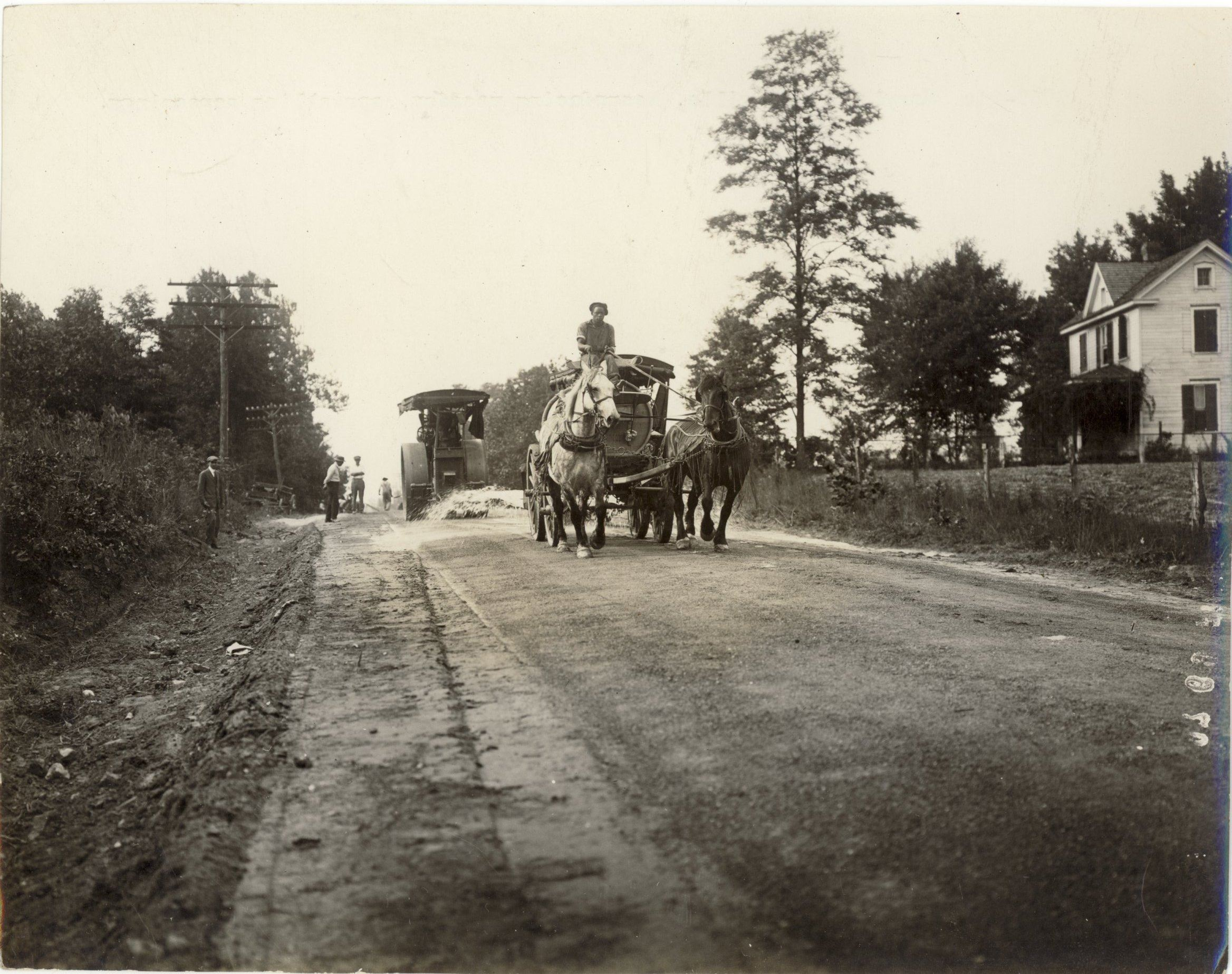 Historical image of a paving operation, Credit Montgomery County Historical Society Rockville Maryla